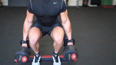 DUMBBELL SQUATS ON HEELS